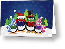 Penguins Carolers With Night Winter Scene Greeting Card