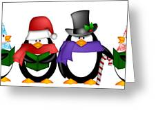Penguins Singing Christmas Carol Cartoon Clipart Greeting Card