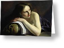 Penitent Magdalen Oil On Canvas Greeting Card
