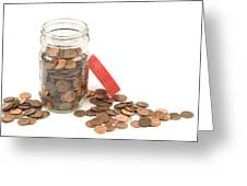 Pennies And Jar On White Background Greeting Card