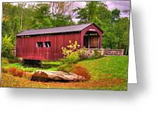 Pennsylvania Country Roads - Everhart Covered Bridge At Fort Hunter - Harrisburg Dauphin County Greeting Card