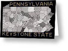 Pennsylvania Map Black Greeting Card