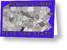 Pennsylvania Map Blue Greeting Card