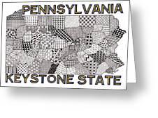 Pennsylvania Map White Greeting Card