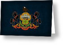 Pennsylvania State Flag Art On Worn Canvas Greeting Card by Design Turnpike