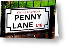 Penny Lane Sign City Of Liverpool England  Greeting Card