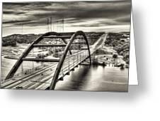 Pennybacker Bridge Bw Greeting Card