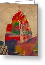Penobscot Building Iconic Buildings Of Detroit Watercolor On Worn Canvas Series Number 5 Greeting Card by Design Turnpike