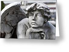 Pensive Angel Detail Monumental Cemetery Milan Italy Greeting Card
