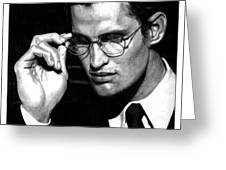 Pensive Man With Glasses Greeting Card