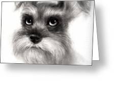 Pensive Schnauzer Dog Painting Greeting Card