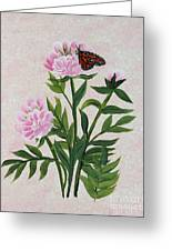Peonies And Monarch Butterfly Greeting Card