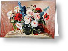 Peonies In Vase Greeting Card