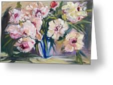 Peons In Blue Vase Greeting Card