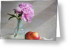 Peony Blue Bottle And Nectarine Greeting Card