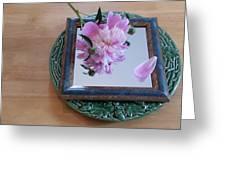 Peony Square Circle Sora's Flower Greeting Card
