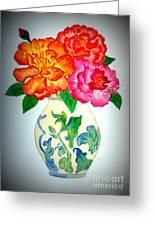Peonys In Vase Greeting Card