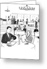 People In A Busy Restaurant Greeting Card by Lee Serenethos