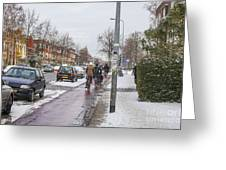 People On Bicycles In Winter Greeting Card