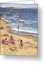 people on Bournemouth beach Blue Sea Greeting Card