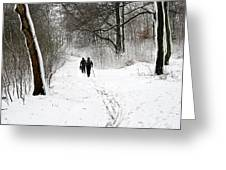 People On Ski  In Snowy Landscape Greeting Card
