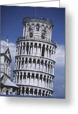 People On Top Of Leaning Tower Of Pisa Greeting Card