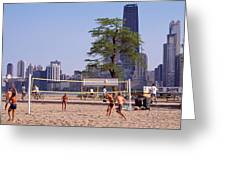 People Playing Beach Volleyball Greeting Card