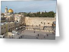 People Praying At At Western Wall Greeting Card