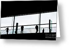 People Silhouettes In Airport Greeting Card