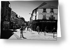 people walking down pedestrian area william street on a sunday Galway city county Galway Republic of Greeting Card