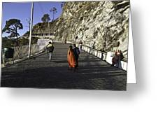 People Walking On The Path Leading To Shrine Of Vaishno Devi Greeting Card