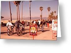 People Walking On The Sidewalk, Venice Greeting Card