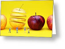 People Watching The Red Apples Greeting Card by Paul Ge