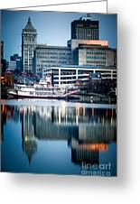 Peoria Illinois Cityscape And Riverboat Greeting Card