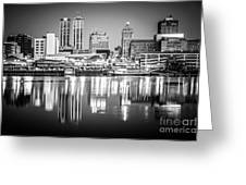 Peoria Illinois Skyline At Night In Black And White Greeting Card