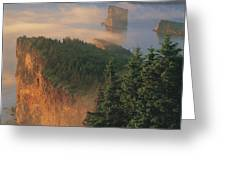 Perce Rock And The Three Sisters In Fog Greeting Card