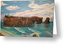 Perce Rock Gaspe  Quebec Greeting Card