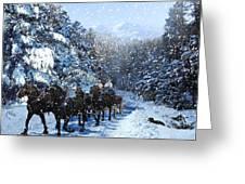 Percheron Team In Snow Greeting Card by Ric Soulen