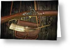 Percussion Cap And Ball Rifle With Powder Horn And Possibles Bag Greeting Card