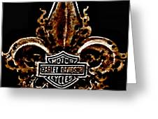 Perforated Brown Fleurs De Lys With Harley Davidson Logo  Greeting Card