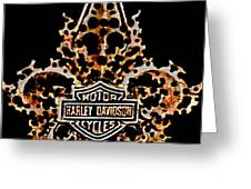 Perforated Fleurs De Lys With Harley Davidson Logo Greeting Card