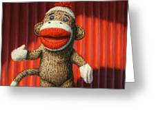 Performing Sock Monkey Greeting Card
