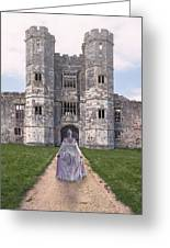 Period Lady In Front Of A Castle Greeting Card