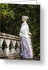Period Lady On Bridge Greeting Card