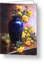 Persian Cobalt - Yellow Roses In Cobalt Vase Greeting Card