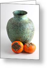 Persimmon With Vase Greeting Card