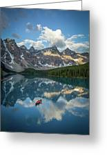 Person In Canoe On Moraine Lake, Banff Greeting Card