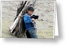 Peruvian Boy Gathers Wood Greeting Card