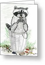 Pesky Raccoon Greeting Card