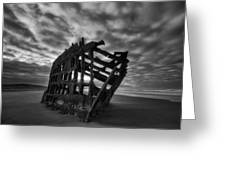 Peter Iredale Shipwreck Black And White Greeting Card